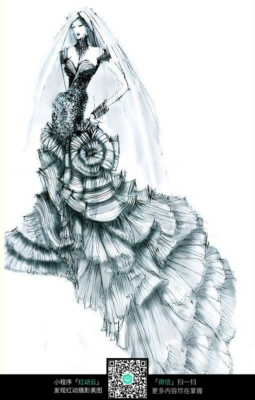 黑色调婚纱设计手绘稿