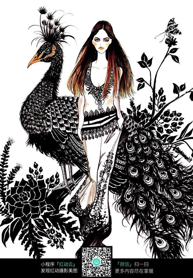 黑色花纹装饰服装设计手绘稿