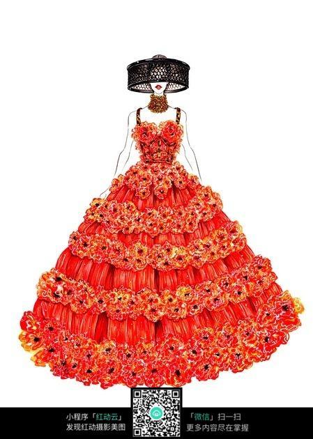 红色长裙服装设计手绘