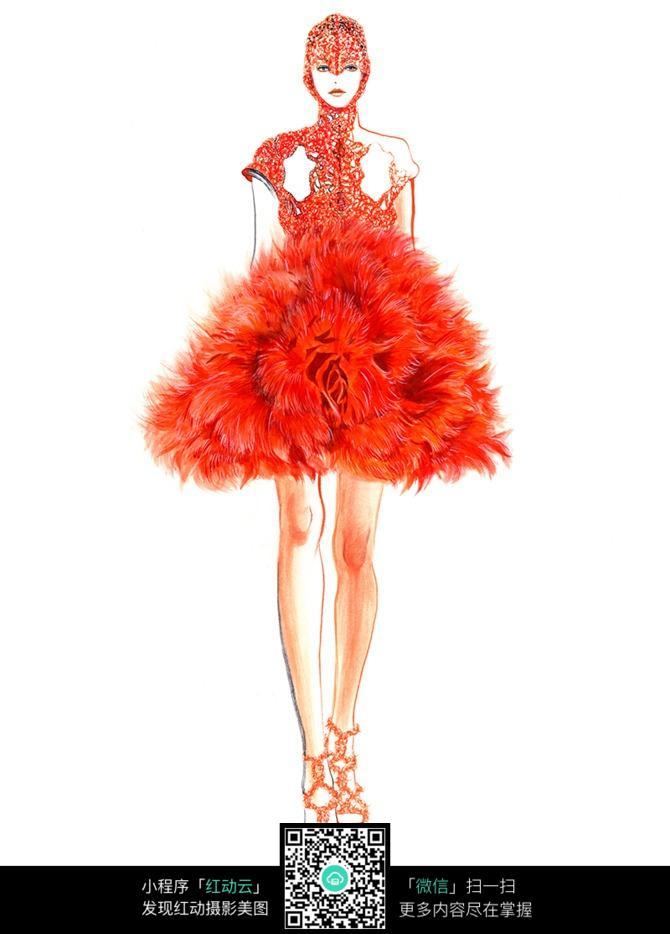 红色蓬蓬裙服装手绘效果图