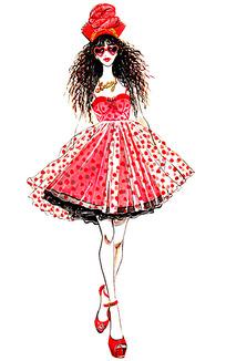 红碎花百褶裙服装手绘效果图