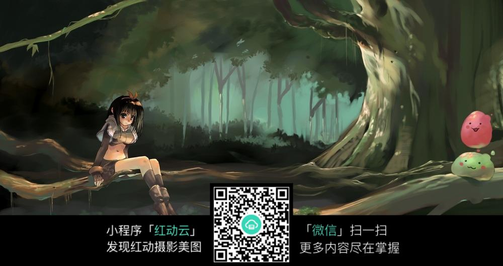 卡通森林中的少女