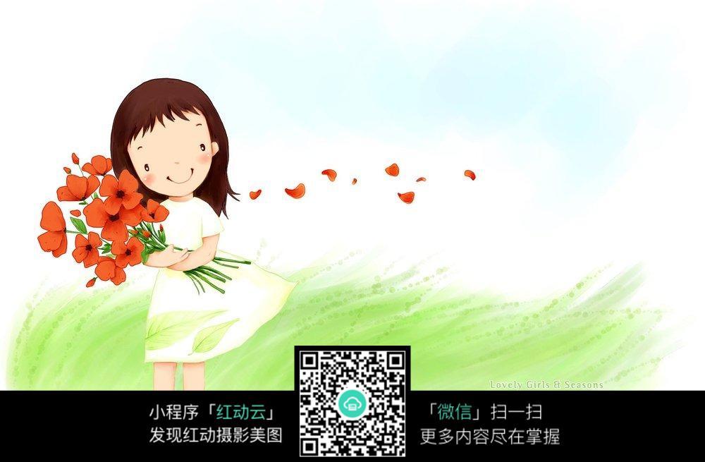 可爱女孩手捧鲜花高清壁纸