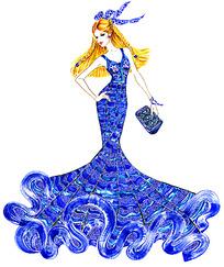蓝色拖地长裙服装手绘效果图