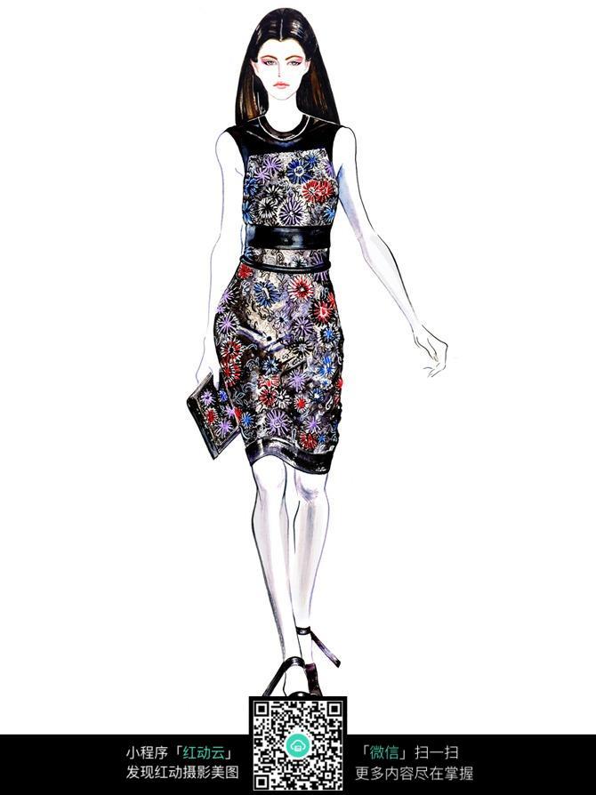 亮丽连衣裙服装设计手绘