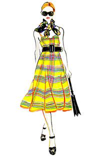 露肩长裙服装手绘效果图