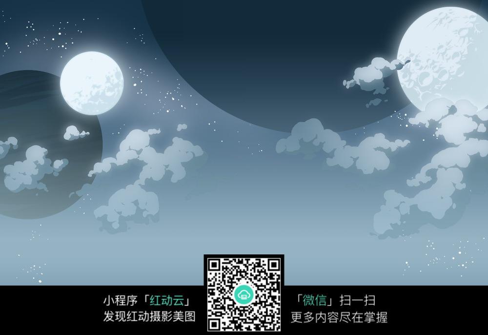卡通 星空 夜色 月亮 星星