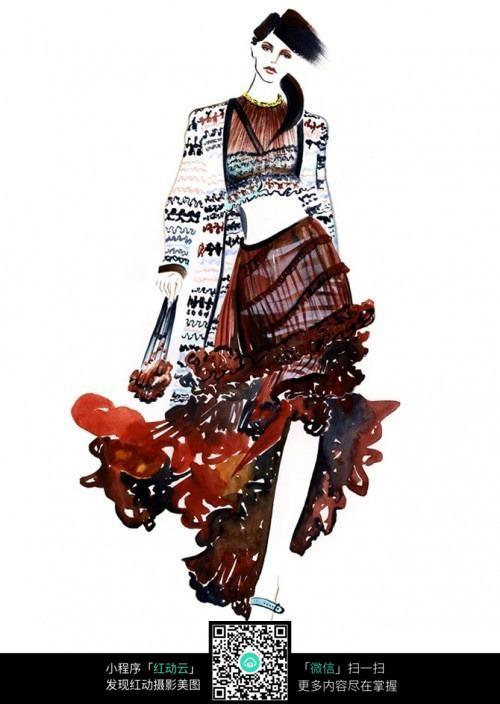 模特走秀创意长裙服装手绘效果图?