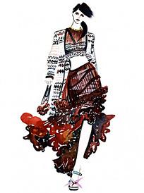 模特走秀创意长裙服装手绘效果图
