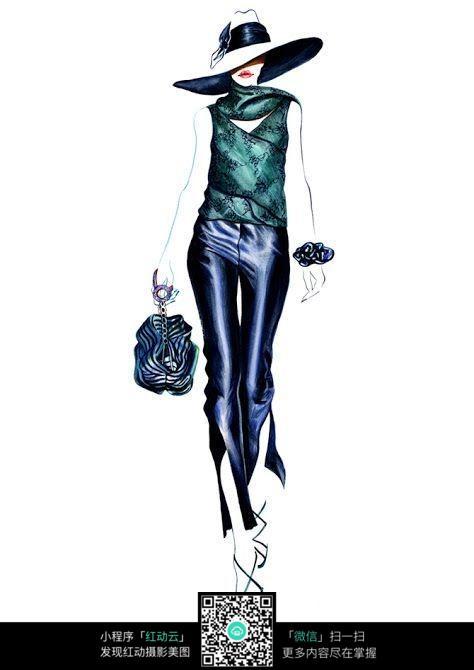 模特走秀服装手绘效果图图片