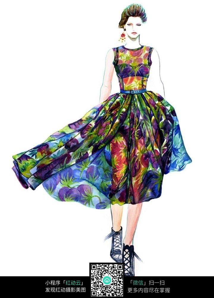 飘逸长裙服装设计手绘效果图