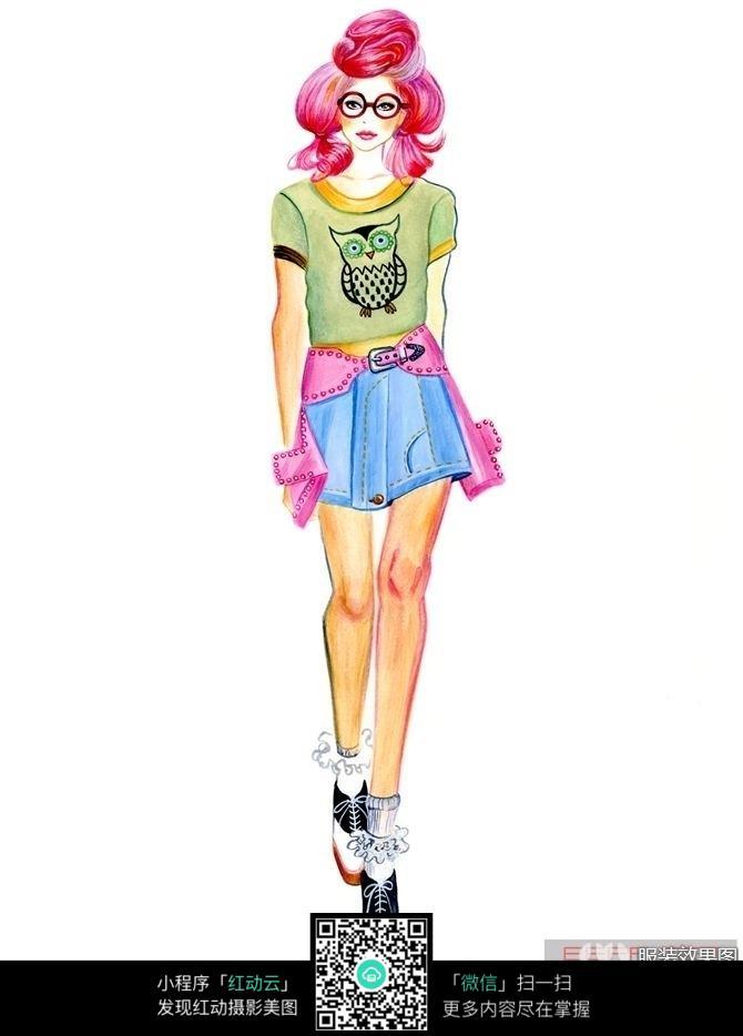 青春活力短裙服装设计手绘稿图片