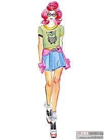 青春活力短裙服装设计手绘稿