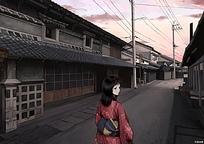 日本传统民居街道上的女人