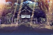 日本神社背景图