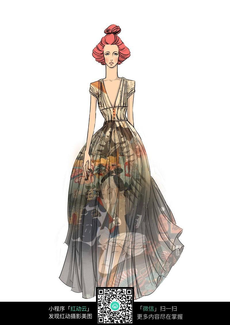 时尚长裙设计手绘稿