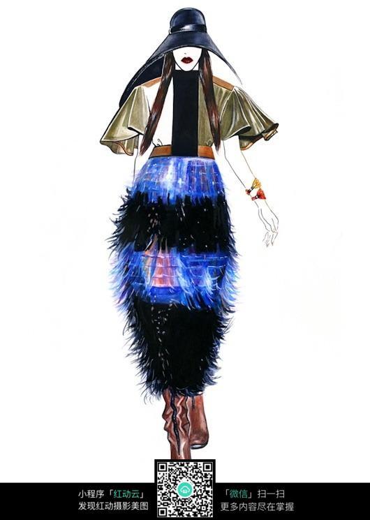 时尚创意长裙服装手绘效果图