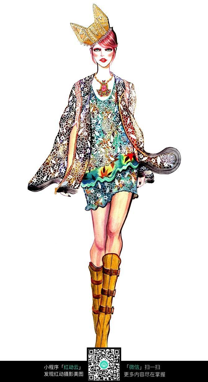 手绘稿   短裙设计