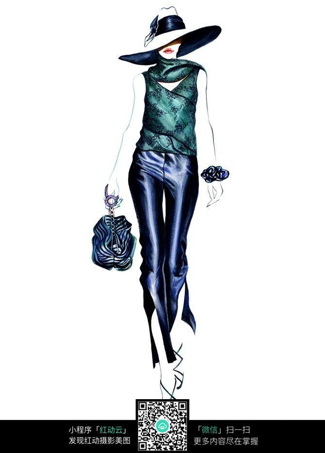 时尚蓝色调时装设计手绘效果图