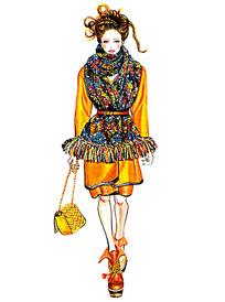 时尚模特服装手绘效果图