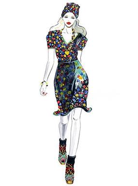 时尚模特走秀服装设计效果图