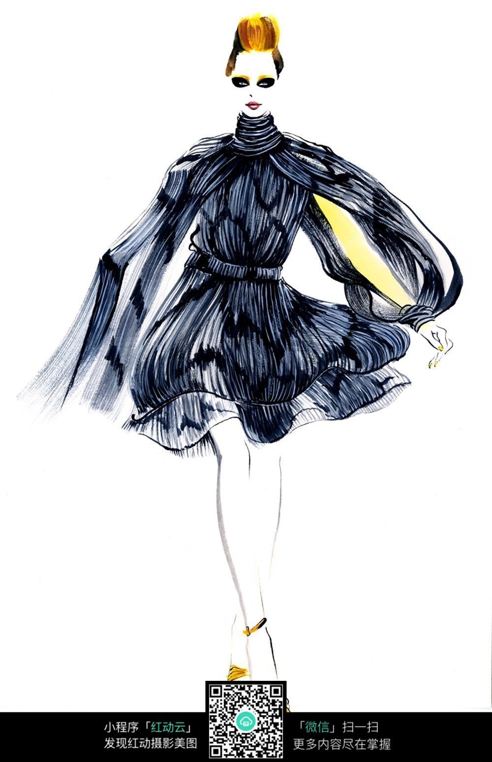 时尚手绘服装模特走秀