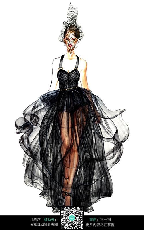 时尚丝绸长裙服装手绘效果图