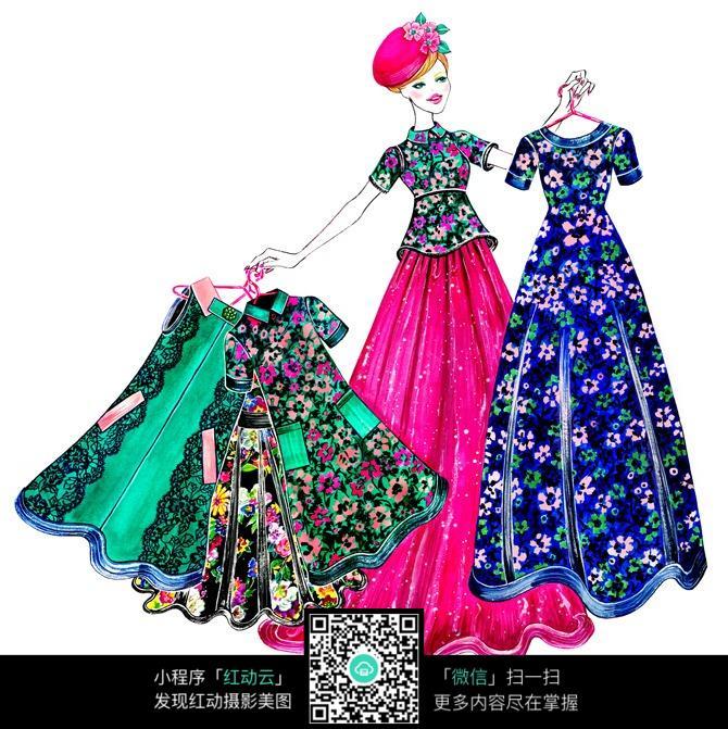 时尚碎花长裙服装手绘效果图