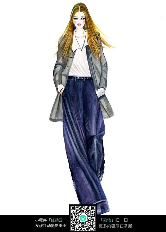手绘服装设计模特走秀效果图