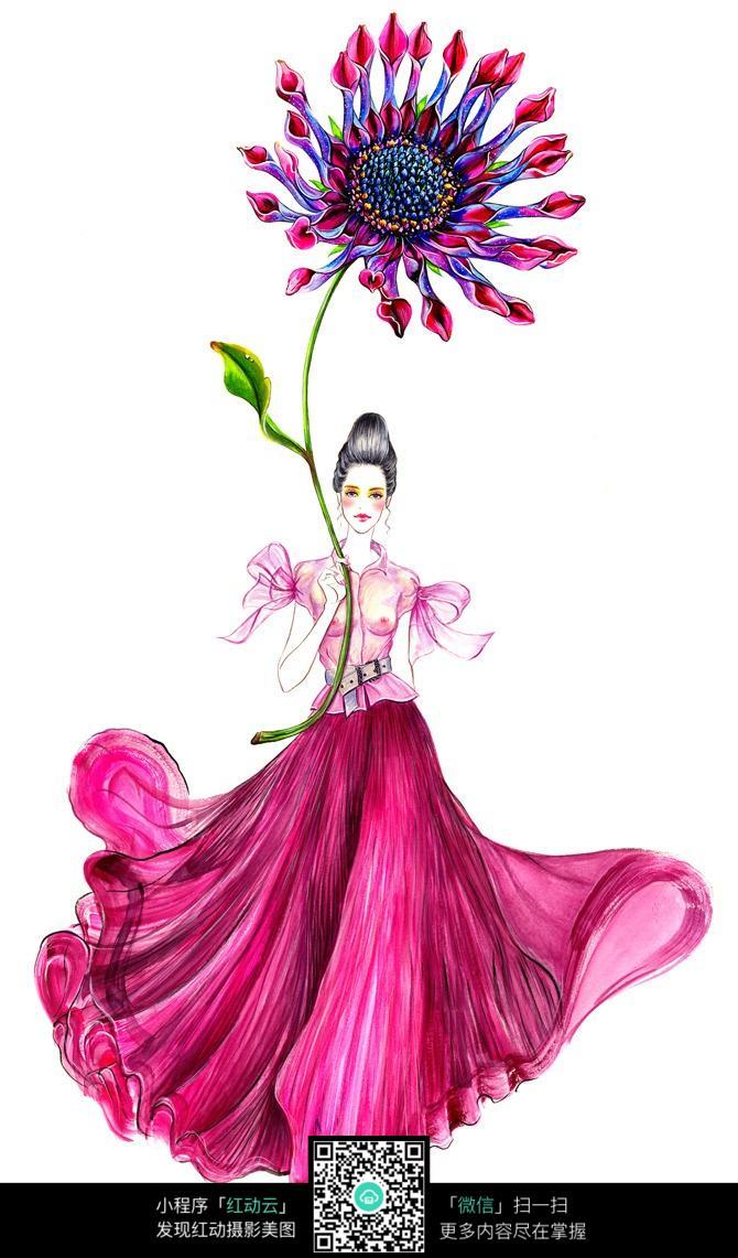 手拿鲜花的美女服装手绘效果图