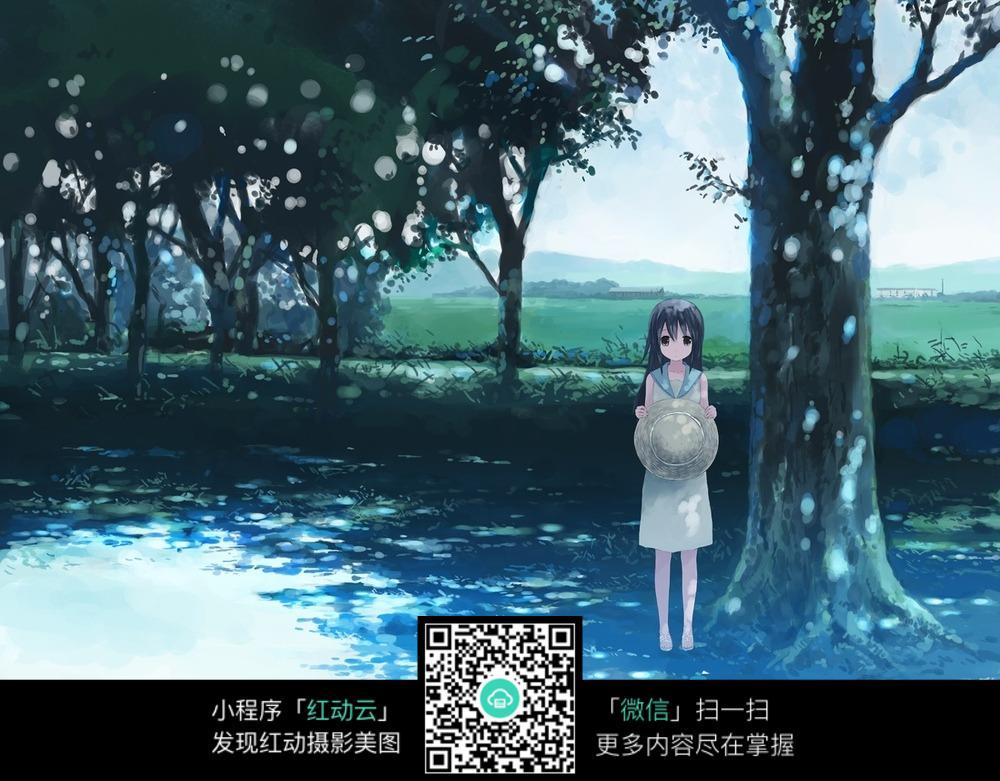 树林中的动漫少女