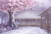 唯美日本樱花院落漫画素材