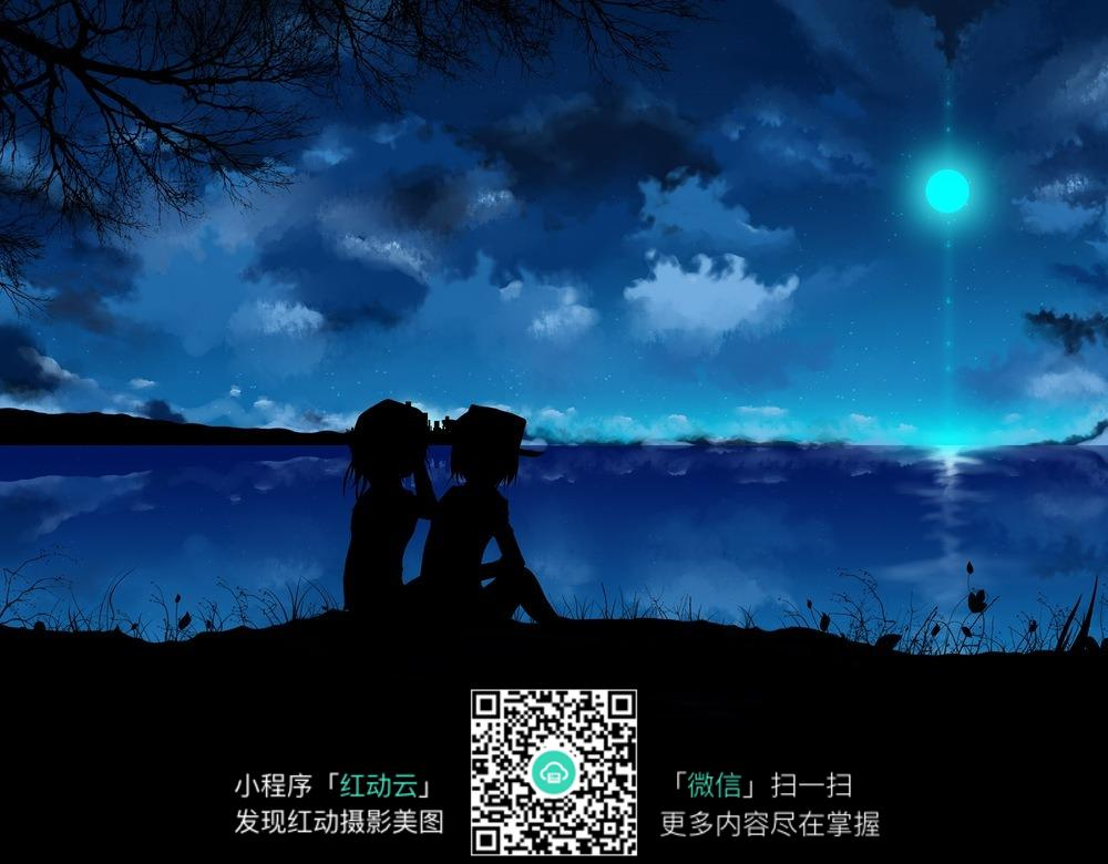 欣赏夜空的人物背影