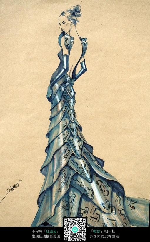 长裙尾摆服装设计手绘稿