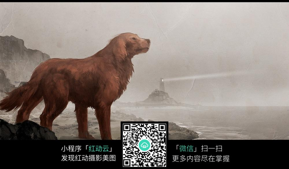 海边巨大的狗
