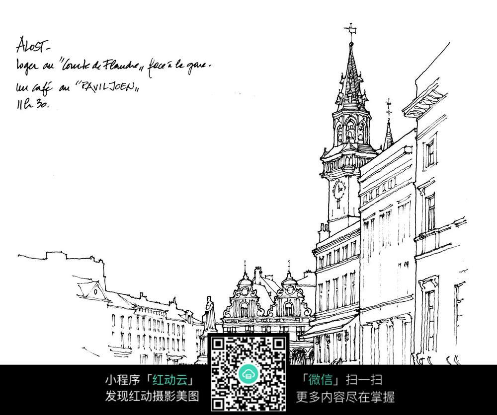 伦敦街头手绘图图片