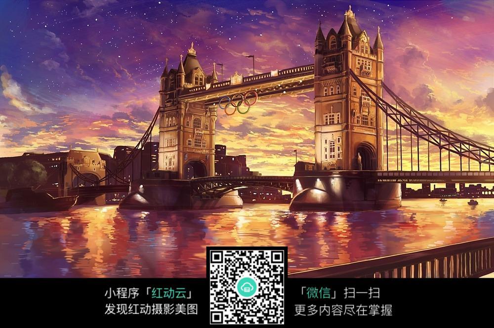马克笔塔桥风景图片