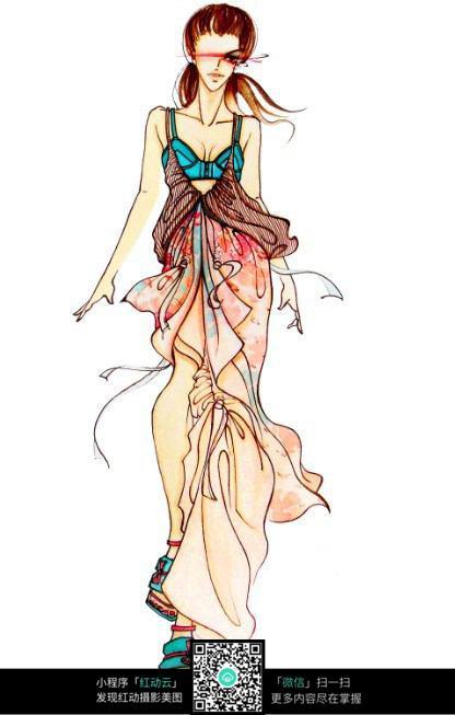 模特走秀服装手绘设计稿