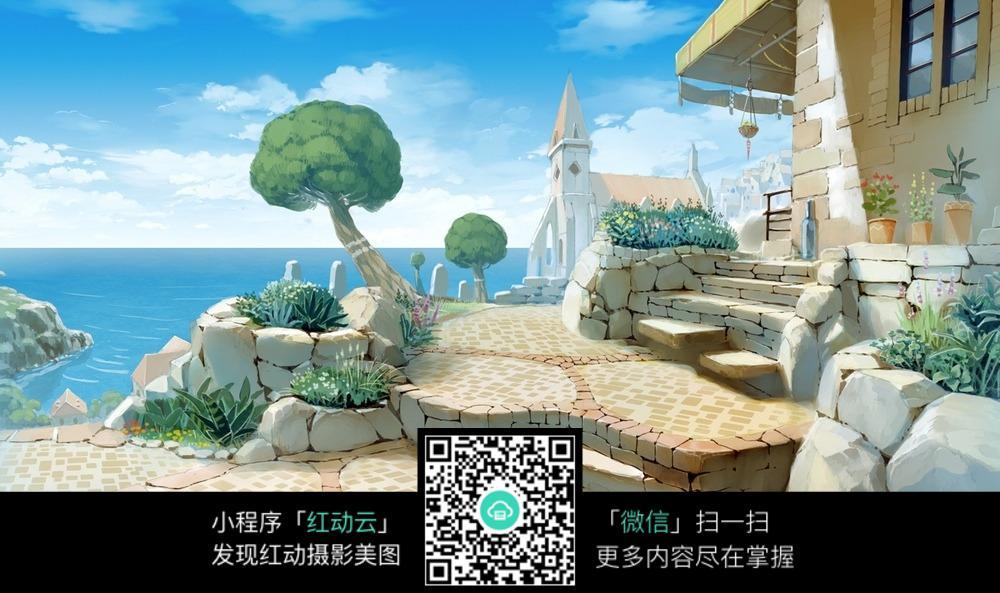 清新海边小屋图