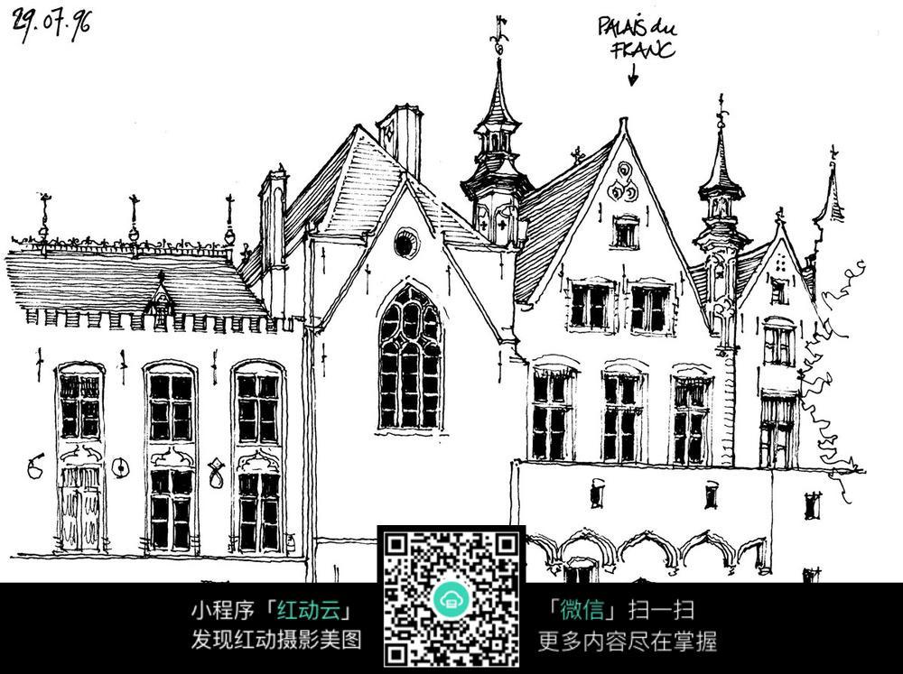手绘宫殿教堂图