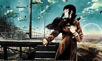 铁路边的女孩漫画素材