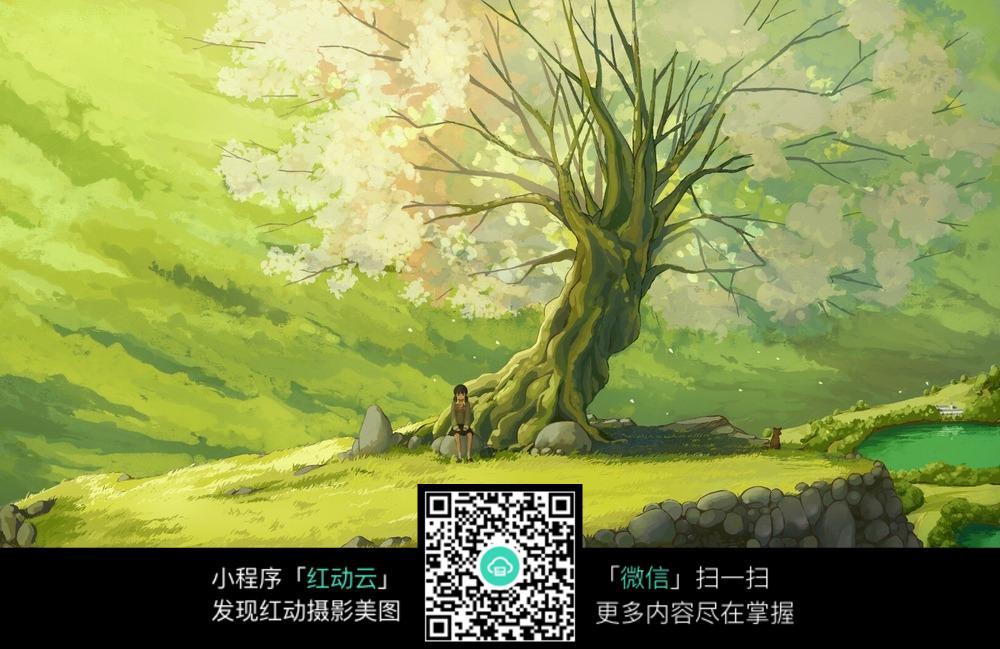 唯美樱花树卡通图