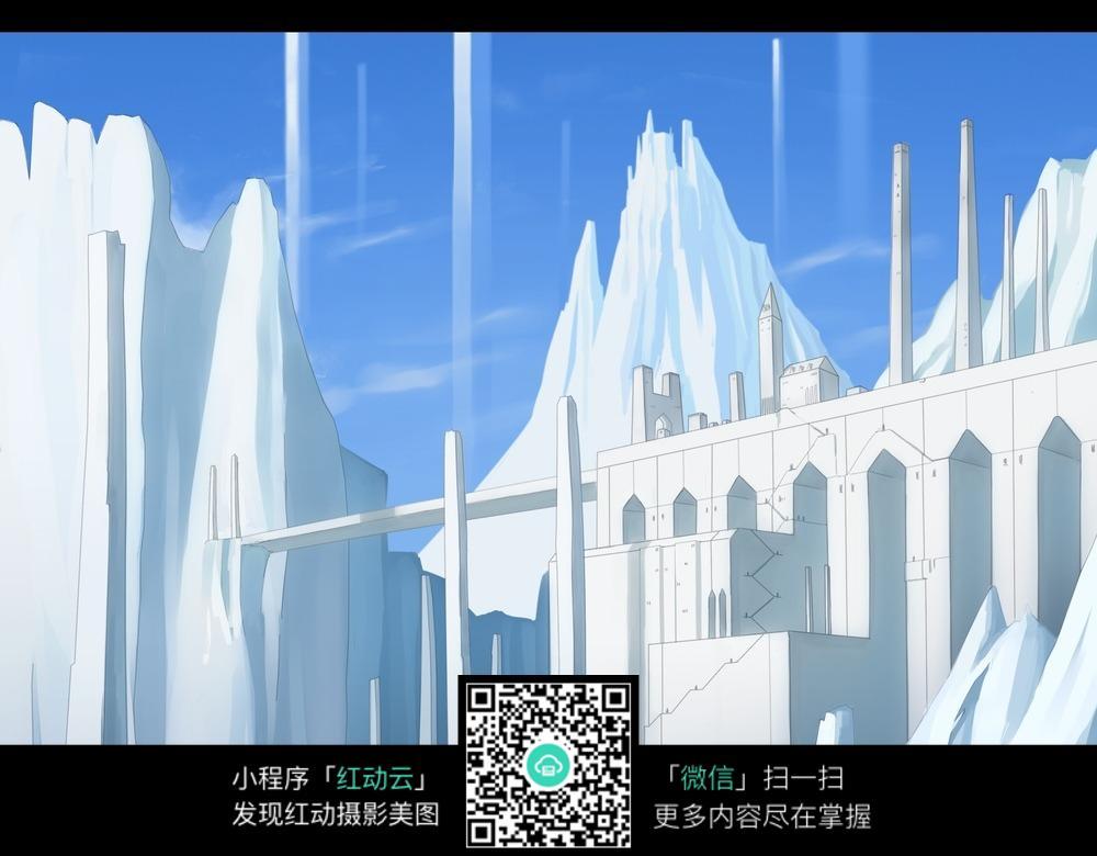 雪山旁的白色古典建筑