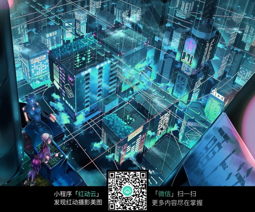 夜空里俯视城市的卡通人物图片