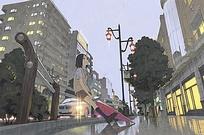 雨后的城市动漫卡通人物素材