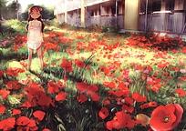 虞美人花海里的小女孩卡通图