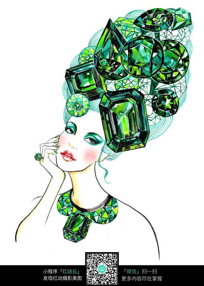 钻石翡翠时尚女孩手绘稿