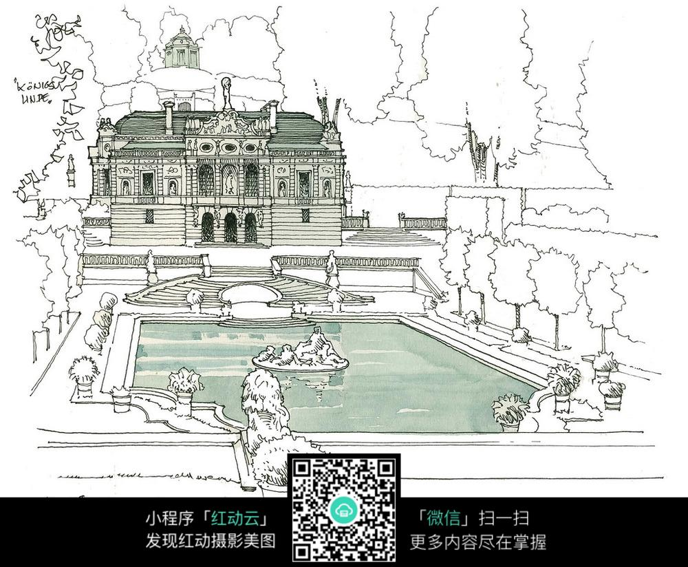 城堡户外建筑手绘图片