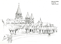 城堡线稿插画