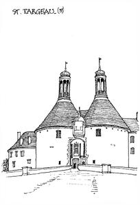 城堡线稿黑白线稿